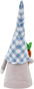 Kijomoza Easter Dwarf Doll, Dwarf Faceless Doll with Blue Plaid Hat Desktop Home Decoration, Spring Decoration Pastoral Deskt