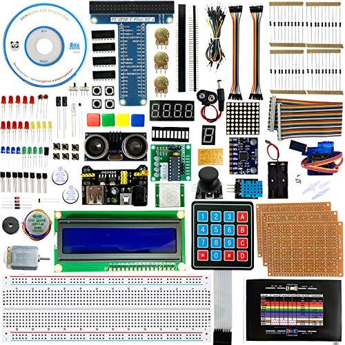 OMGOD Ultimatives Starter-Set mit Tutorial, für Raspberry Pi 4 B 3 B+, unterstützt Python C Java, Lernen Elektronik und Programmierung, lötfreie Steckplatine, für Raspberry Pi Anfänger
