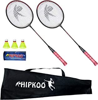 Hipkoo Fun Play Badminton Racket Set of 2 and Plastic Shuttlecock 3 pcs with Cover
