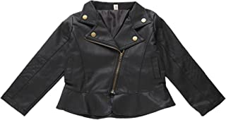 Little Baby Boy Girl Kids Jacket Outfit Spring Autumn PU Faux Leather Lapel Zipper Outerwear Coat Halloween Costume