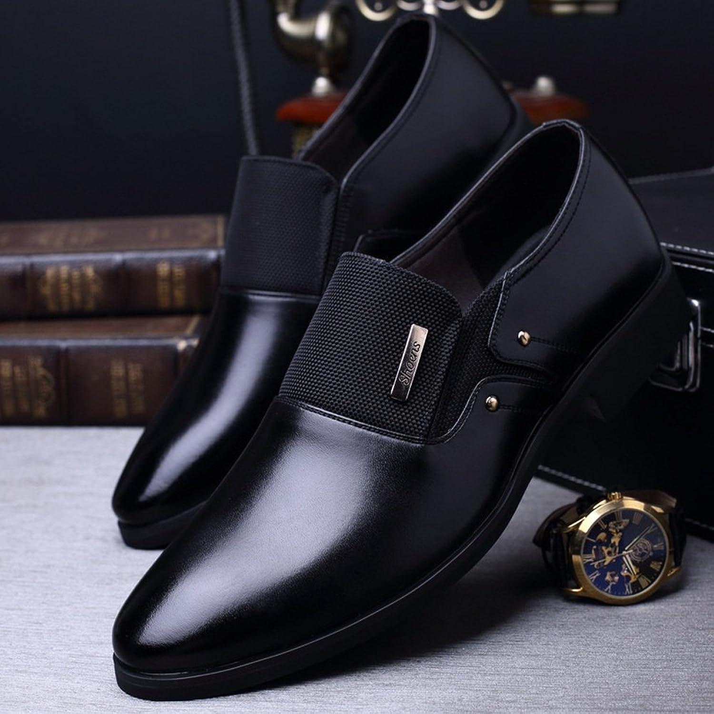 Xiaojuan-shoes, Men's Business shoes Matte PU Leather & Canvas Splice Slip-on Breathable Lined Oxfords(Lace-up Optional) (color   Black, Size   9.5 UK)