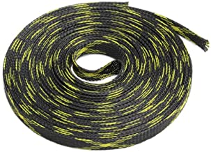 AXZJ 5M 10M 10mm Expandable Braided Cable Sleeve Wire Protecting Nylon Insulation Sheathing Braided Sleeves-Black Yellow_10M