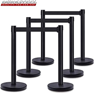 DuraSteel VIP Series Standard Rope Barriers - 6 Pcs Set Heavy Duty Black Tuff Tex Crowd Control Stanchions - 36