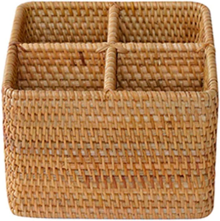 lxm Wholesale Handmade Max 71% OFF Rattan Candy Basket Table Top Grid Storage