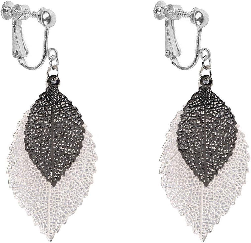 Fashion Leaf Clip on Dangle Earrings two-tone Layered Filigree Water Drop Jewelry for Girls Women