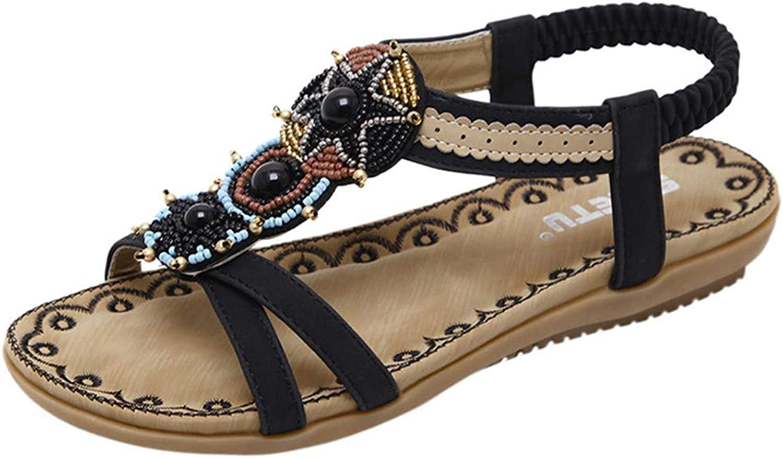 Ghssheh Caopixx Women's Ankle Strappy Gladiator Sandals Summer Beach Bohemia Flat Sandal Roma shoes Black US 7.5
