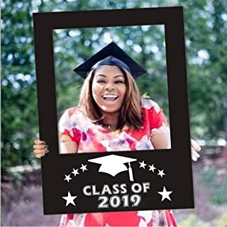 BinaryABC Graduation Photo Booth Picture Frame, Class of 2019 Photo Booth Props,Graduation Decorations