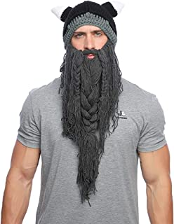 Adult Funny Knitted Viking Beard Beanie Horn Hat Winter Warm Mask