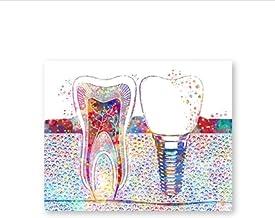 Zhaoyangeng Aquarelposter met tandartsen, wanddecoratie, kliniek, canvas, hygiënisch, kantoor, 42 x 60 cm, zonder lijst