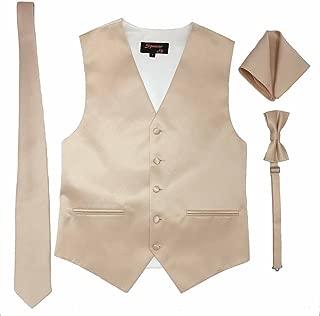 Men's Formal Tuxedo Suit Vest Tie Bowtie and Pocket Square 4 Peace Set Verity of Colors