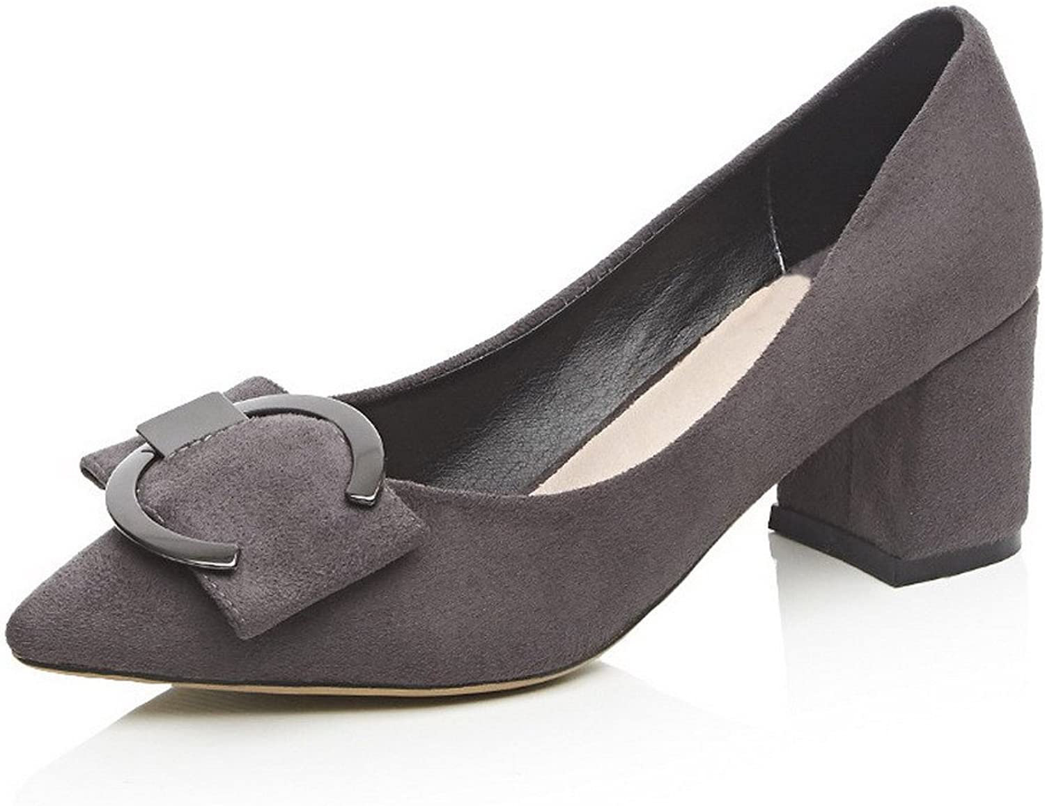 WeenFashion Women's Pull-on Pointed Closed Toe Kitten-Heels Imitated Suede Solid Pumps-shoes