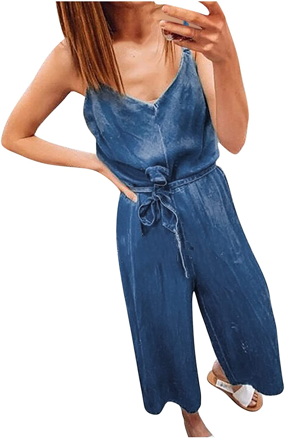 Uppada Womens Tank Jumpsuits Casual Denim Spaghetti V Neck Belted Wide Leg Capris Pants Jean Rompers with Pockets