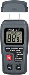 Proster 木材水分計 含水率検出器 高精度 0-99.9%測定範囲 4つ測定モード データホルダー LCD大画面 木材 建築材 料などの測定 (グレー)