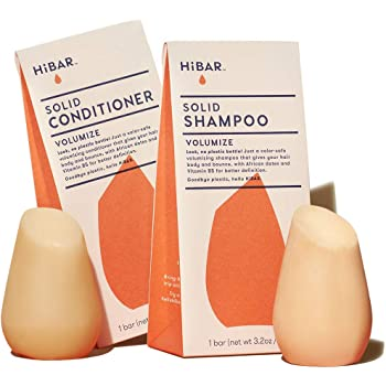 HiBar Solid Shampoo Bar and Solid Conditioner Bar. Volumize for Fine or Thin Hair - Eco-Friendly, All Natural, and Plastic Free. Never Any Soap, Sulfates, Phthalates, Parabens, Silicones or Cruelty.