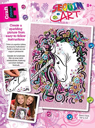 Sequin Art 1720 Unicorn Craft Project From The Craft Teen Range 28 x 37 Centimetres