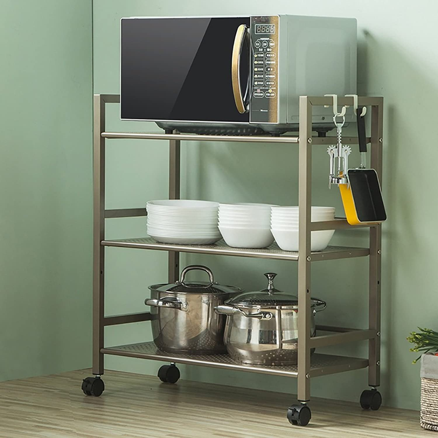 Kitchen Shelf All Purpose Shelving, Serving Trolley,Sturdy Rolling Cart, Mesh Storage Units,Suitable for Kitchen Kitchen Storage Racks (color   Champagne gold)