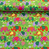 MAGAM-Stoffe Julia Bunte Elefanten grün Kinder Jersey