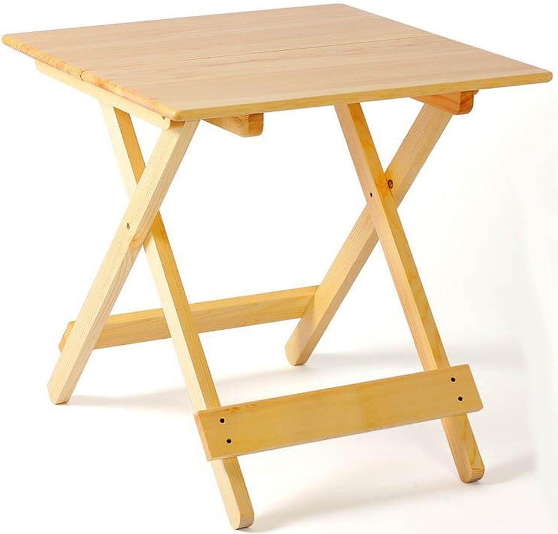 XUERUI Folding Tables Solid Wood Folding Simple Portable Dining Table 68cm68cm68cm Wood color