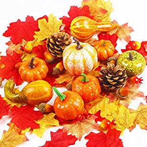 AIZESI 65Pcs Thanksgiving Artificial Pumpkins Halloween Artificial Vegetables Mixture of Vegetable Fruit for Festival Thanksgiving Fall Harvest Home Decoration