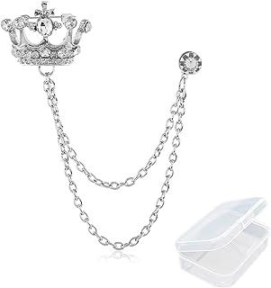 PPX Broche de Hombre Traje de Estilo Británico Pin de Cadena Insignia de Corona de Diamantes de Imitación Ramillete Vintag...