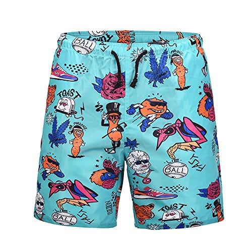 Ocean Plus Hombre Pantalón Corto Bañador Verano Hawaii Beaches UV con Cordón, Personaje de Dibujos Animados, L