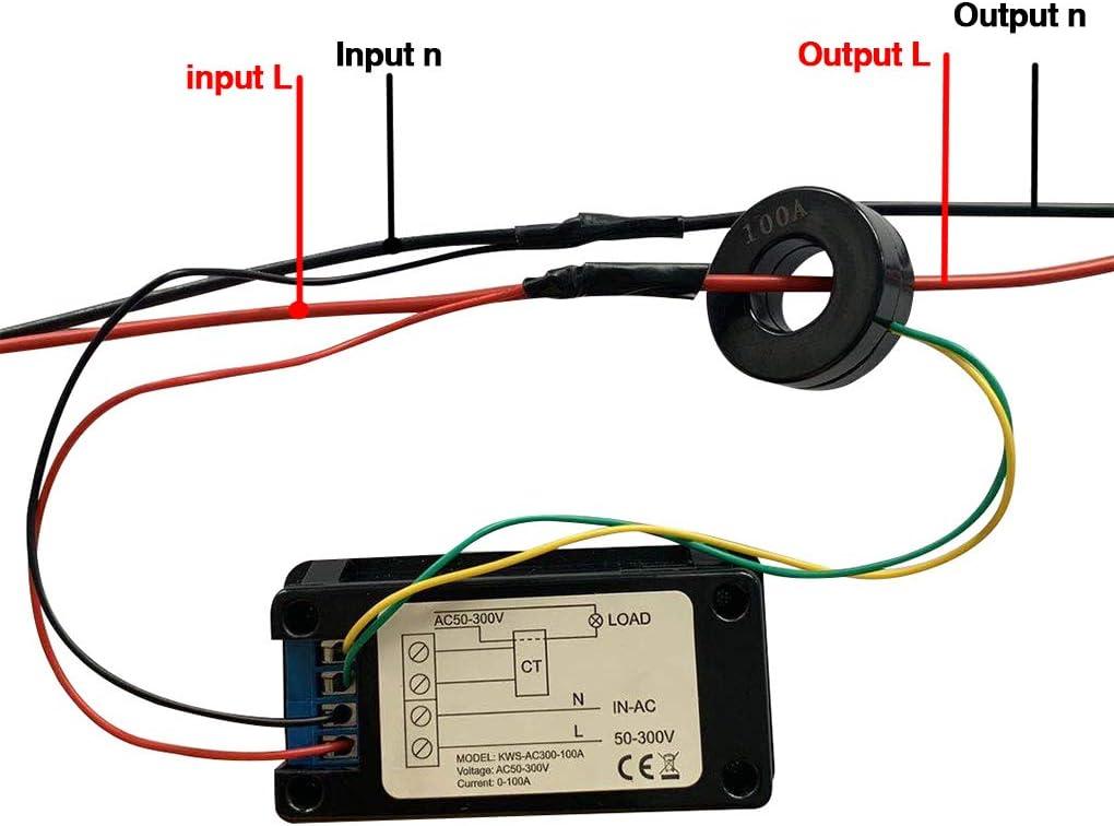 seccionamiento de transformadores 0-100A rongweiwang CA La Pantalla Texter Actual Detector de Voltaje del medidor LED Detector mult/ímetro Digital Monitor de energ/ía