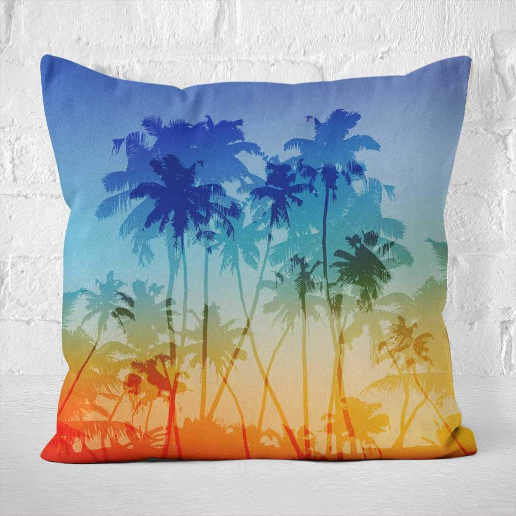 Amazon Com Beach Throw Pillow Cover Palms Silhouettes Tropical Sunset Throw Pillows Burgundy 24 X 24 Inch Luxury Soft For Sofa Christmas Day Mothers Day Couch Chair Couch Bed Car Bedroom Modern Sofa
