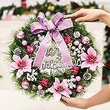 XIUYUNHUAH Weihnachtskranz 30Cm Künstliche Rattan Deko Hristmas Girlanden Mit Roten Beeren Tannenzapfen Etc-40Cm Pink12