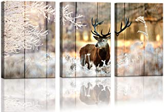 Country Decor Deer Rustic Wall Decor Hunting Wall Pictures for Bedroom Wall Decor 3 Piece Framed Wall Art for Kitchen Decor Home Decor Rustic Theme Room Decorations Winter Canvas Art 12x16inchx3pcs