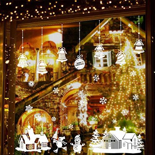 Natale Vetrofanie Adesivi Murali Rimovibile Fai da te Finestra Decorazione Vetrina Wallpaper di neve Christmas Decor Babbo Pupazzo di Neve (A)