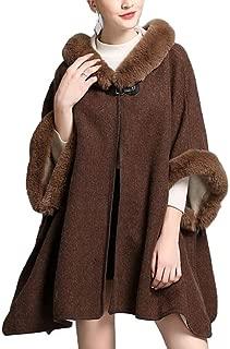 neveraway Womens Plus Size Winter Warm Wool Hooded Cape Elegant Coat Jacket