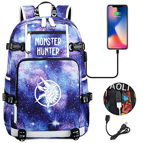 Monster Hunter - Mochila de lona luminosa, diseño de anime 10 talla única