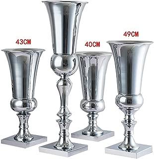Huhudde Large Luxury Stunning Silver Iron Luxury Flower Vase Urn Wedding Table Centrepiece