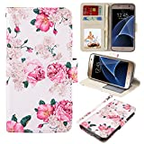 S7 Case, UrSpeedtekLive Galaxy S7 Wallet Case, Premium PU Leather Wristlet Flip Case Cover with Card Slots & Stand for Samsung Galaxy S7,Flower 2