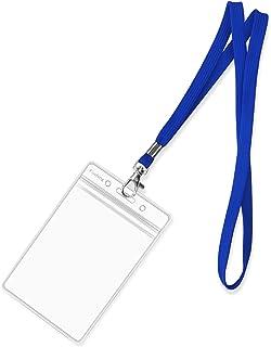 Fushing Lot de 50 porte-badges verticaux en plastique transparent avec crochet pivotant pour l'école, les festivals, les é...