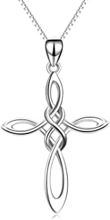 Celtic Knot Cross Necklace,Celtic Cross Dangle Earrings 925 Sterling Silver Polished Religious Infinity Love Irish Celtics Jewelry for Women Girls