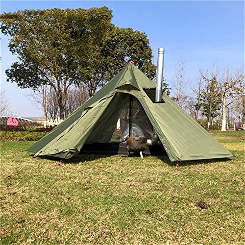 RongWang Tienda Ultraligera para Acampar, Tienda Piramidal Grande para 3-4 Personas, Tienda para Mochileros con Toldos con Orificio para Chimenea, Refugio para Observación De Aves, Cocina