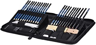 Jrelecs 40pcs/ Set Professional Sketching Drawing Pencils Kit Including Sketch Graphite Charcoal Pencils Willow Sticks Erasers Sharpeners with Pop-Up Stand Carry Bag for Art Supplies Students