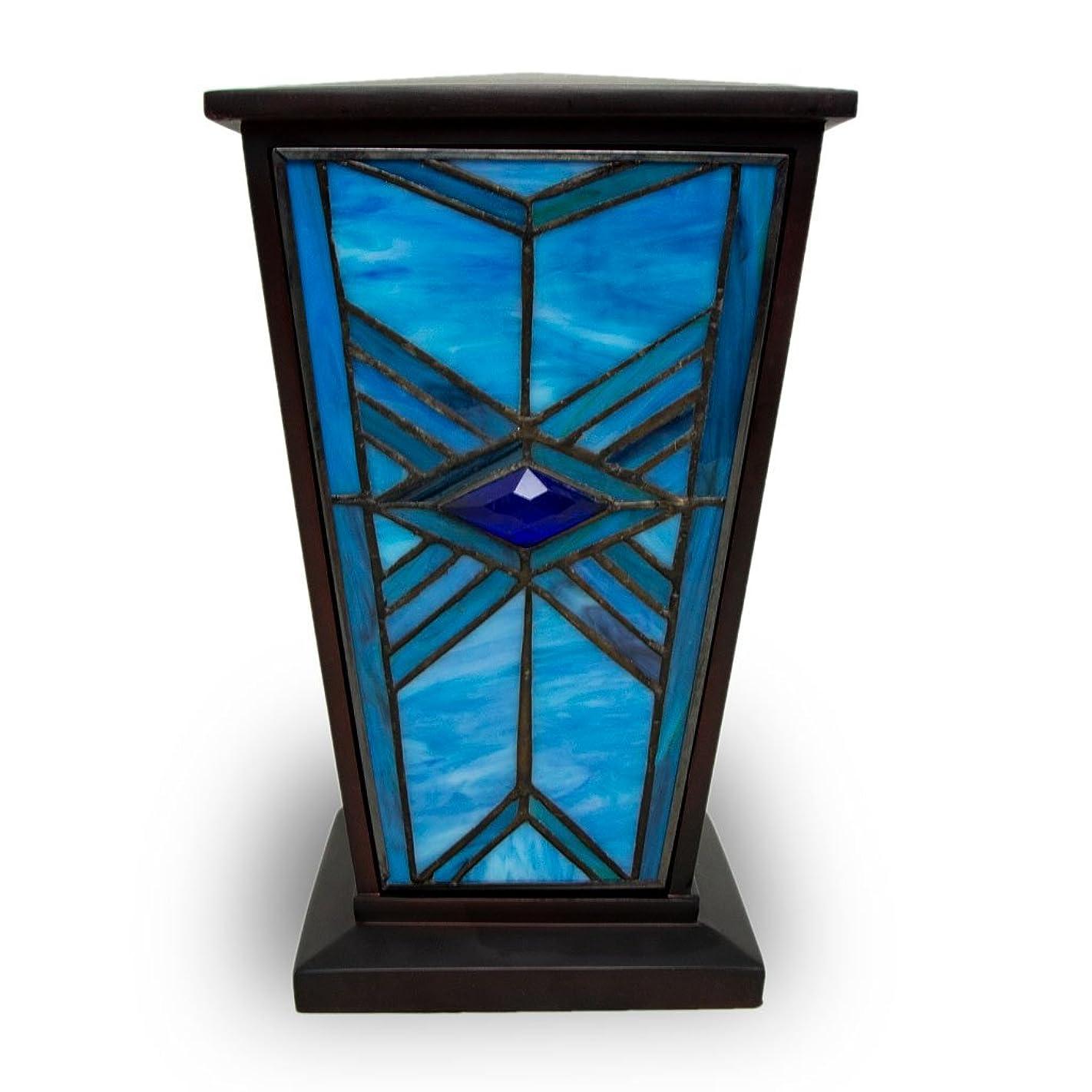 キラウエア山さまよう株式会社ミッションスタイルCremation Urn?–?インディゴブルーガラス200ポンドLarge