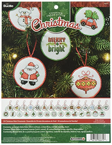 Bucilla Counted Cross Stitch Mini Ornament Kit, Christmas (Set of 30)