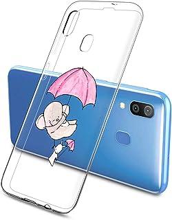 Oihxse Compatible pour Silicone Samsung Galaxy J8 Coque Crystal Transparente TPU Ultra Fine Souple Housse avec Motif [Elep...