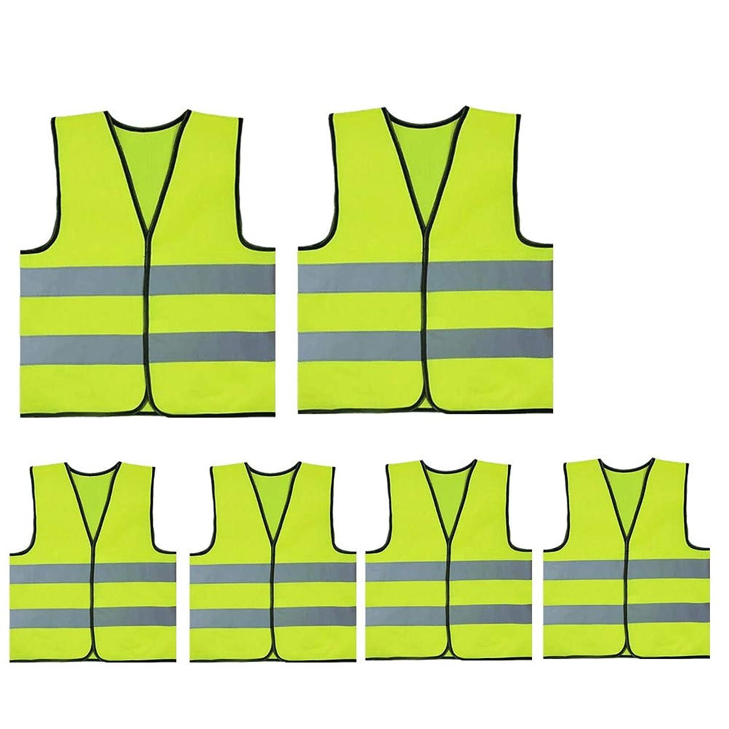 米ドルダイエット公爵TOPTIE子供安全ベスト建設衣装卸売用高視認性反射ユニフォーム - 蛍光 グリーン - L 6 Pack