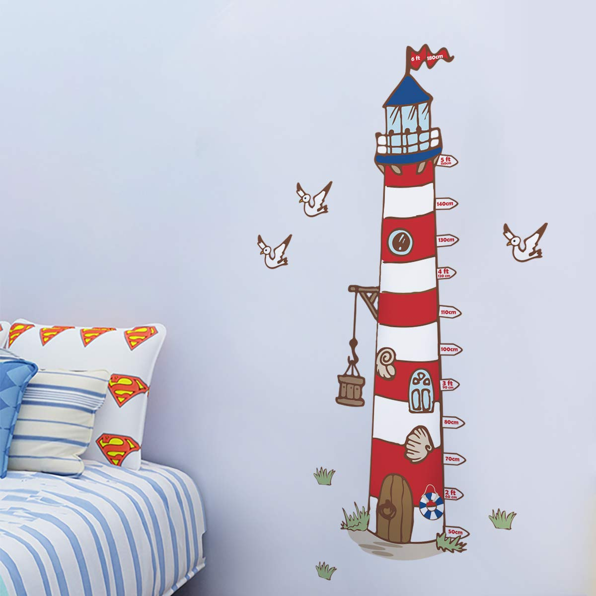 decalmile Large Lighthouse Height Chart Wall Stickers Kids Measure Growth Wall Decals Baby Nursery Childrens Bedroom Living Room Wall Decor