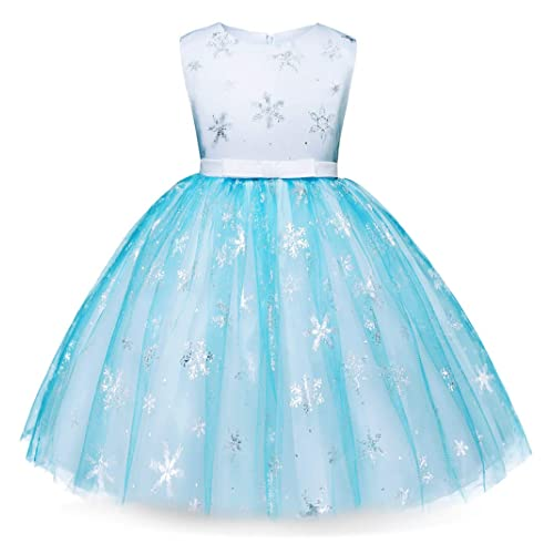 3a3958b19c84 Cotrio Elsa Dress Toddlers Dress Up Princess Costume for Girls Birthday  Party Dresses (Blue)