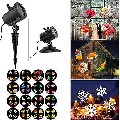 Christmas Projector Lights, 16 Slides Waterproof IP65 Outdoor Landscape 6W Motion LED Projection Lights
