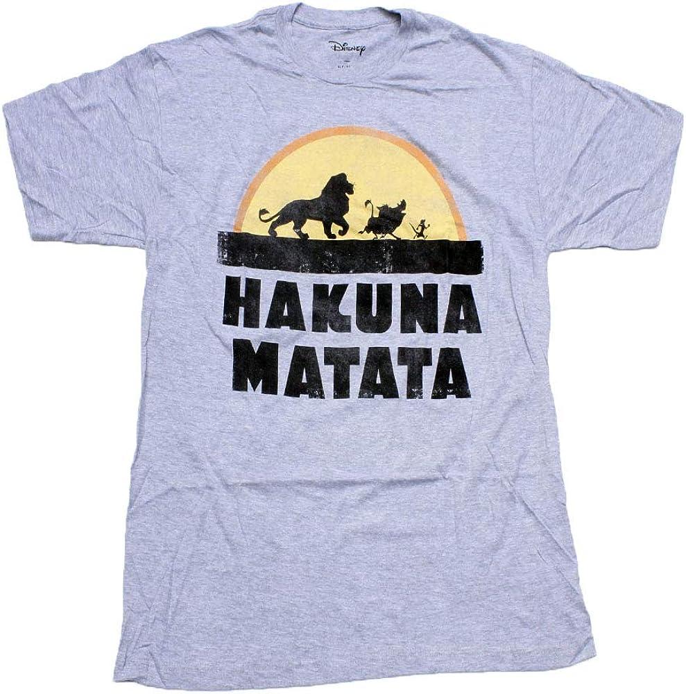 Disney Lion King Hakuna Matata Distressed Men's T-Shirt (X-Large Tall) Gray