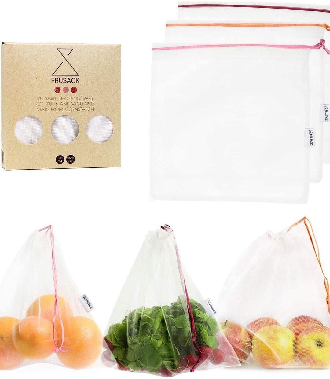 Raleigh Mall Frusack In stock Set of 3 Reusable Compostable 100% Produce -Fully Bags