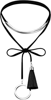 AMDXD Jewelry Stainless Steel Collar Necklaces for Women Tassel Circle