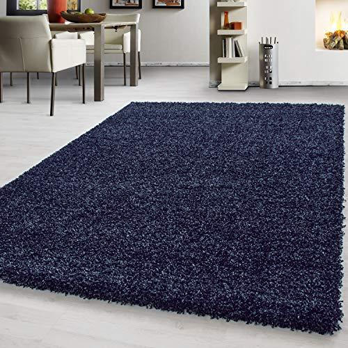 Teppich hochflor Shaggy Teppich modern einfarbig langflor Wohnzimmer teppiche, Maße:120 cm x 170 cm, Farbe:Dunkelblau