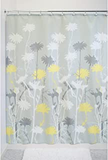 iDesign Daizy Fabric Shower Curtain, Polyester Shower Screen with Garden Daisy Pattern Design, Grey/Yellow